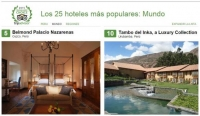 Two hotels of 25 in Cusco are considered as the best hotels in the world by Tripadvisor.